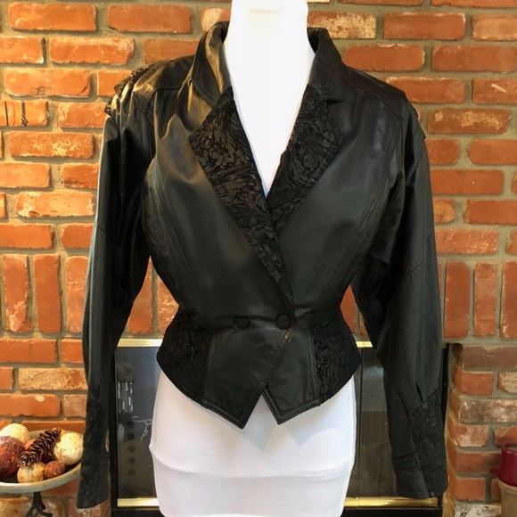 WILSONS LEATHER Black Crop Tapered Bolero Jacket